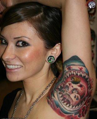 f-ed up shark tattoo lady